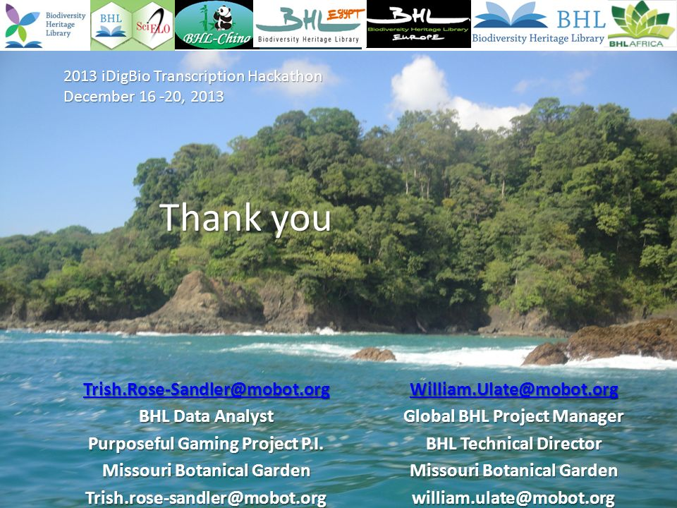 Thank you BHL Data Analyst Purposeful Gaming Project P.I.