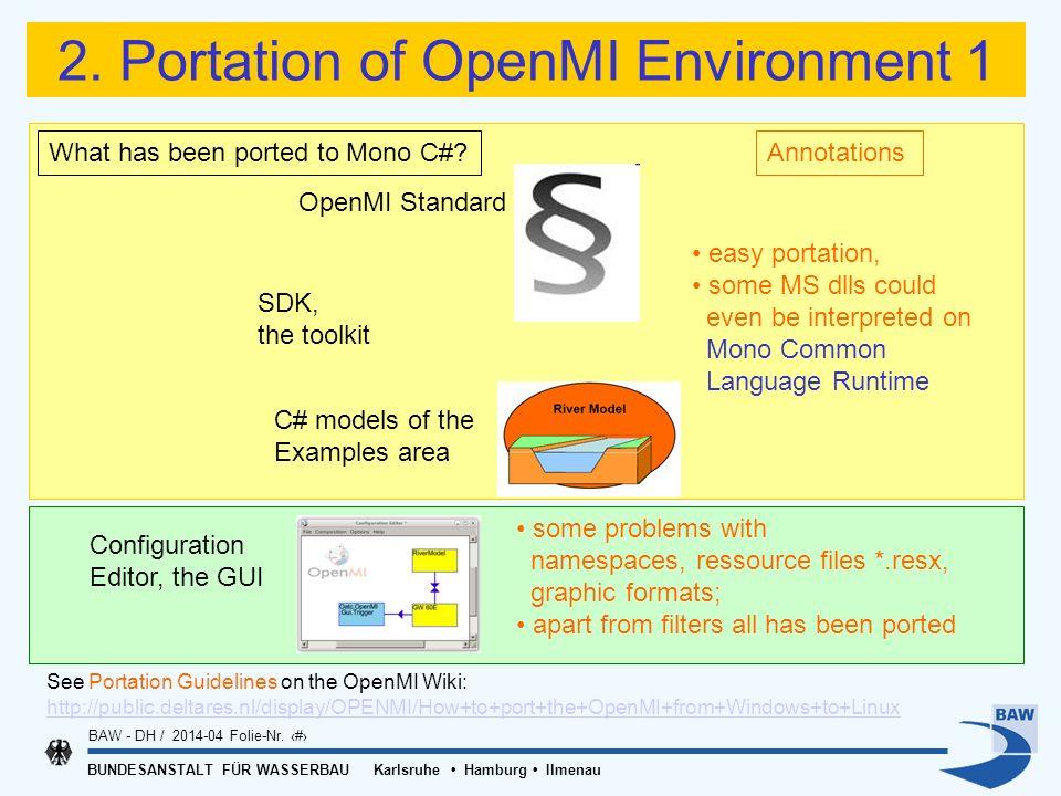 BUNDESANSTALT FÜR WASSERBAU Karlsruhe Hamburg Ilmenau BAW - DH / 2014-04 Folie-Nr. 10 2. Portation of OpenMI Environment 1 OpenMI Standard What has be
