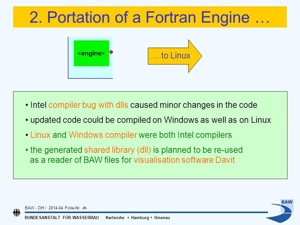 BUNDESANSTALT FÜR WASSERBAU Karlsruhe Hamburg Ilmenau BAW - DH / 2014-04 Folie-Nr. 13 2. Portation of a Fortran Engine … Intel compiler bug with dlls