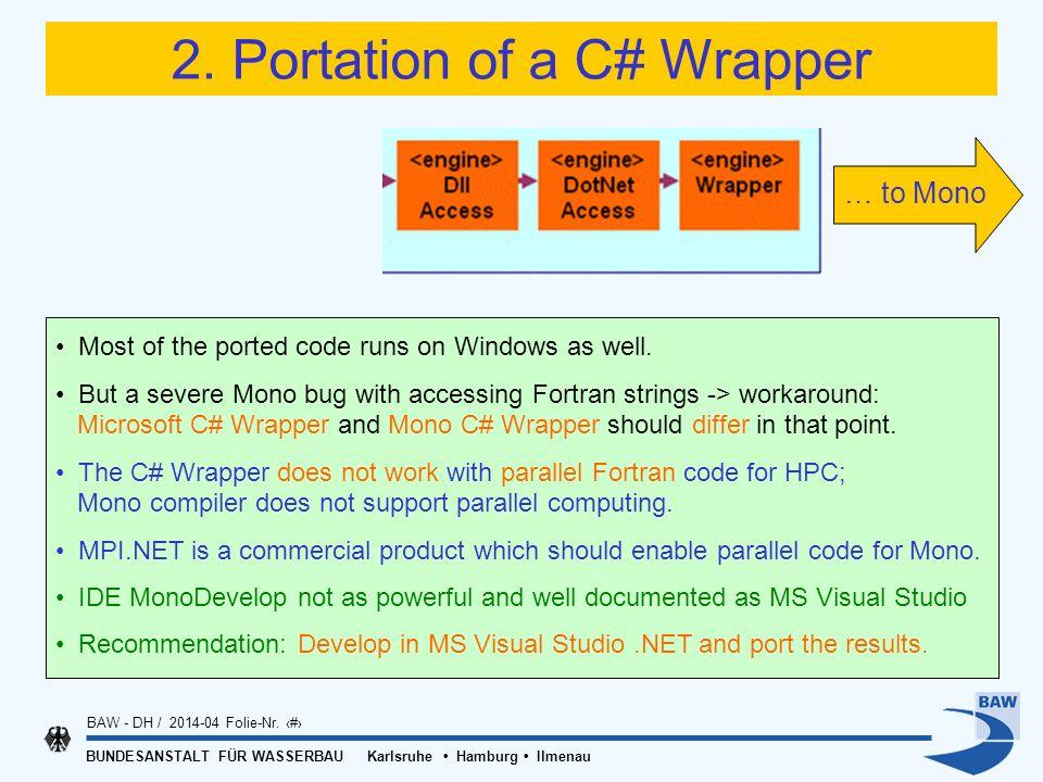 BUNDESANSTALT FÜR WASSERBAU Karlsruhe Hamburg Ilmenau BAW - DH / 2014-04 Folie-Nr. 14 2. Portation of a C# Wrapper Most of the ported code runs on Win