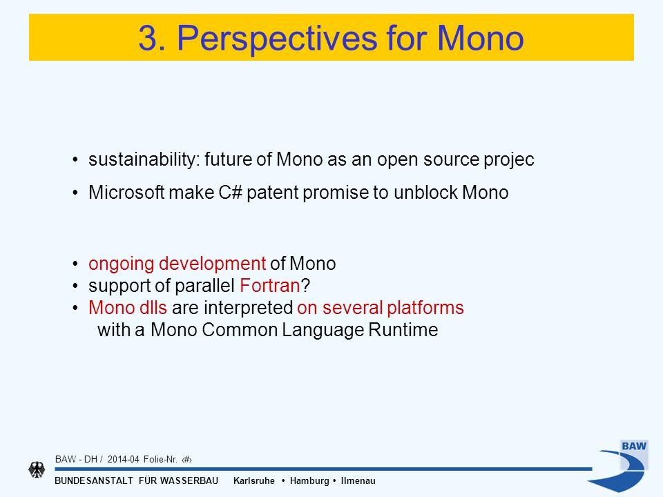 BUNDESANSTALT FÜR WASSERBAU Karlsruhe Hamburg Ilmenau BAW - DH / 2014-04 Folie-Nr. 18 3. Perspectives for Mono sustainability: future of Mono as an op