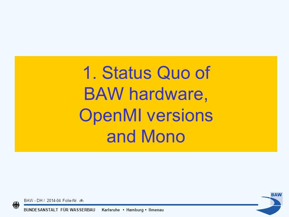 BUNDESANSTALT FÜR WASSERBAU Karlsruhe Hamburg Ilmenau BAW - DH / 2014-04 Folie-Nr. 3 1. Status Quo of BAW hardware, OpenMI versions and Mono