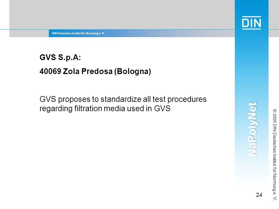 DIN Deutsches Institut für Normung e. V. 24 © 2005 DIN Deutsches Institut für Normung e. V. GVS S.p.A: 40069 Zola Predosa (Bologna) GVS proposes to st