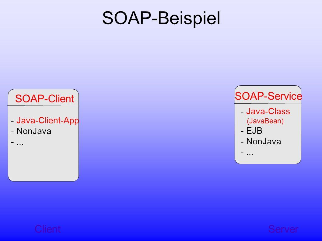 Server SOAP-Service - Java-Class (JavaBean) - EJB - NonJava -...