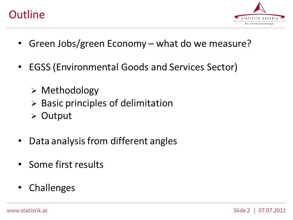 www.statistik.atSlide 13 | 07.07.2011 Development 2008/09 Green Economy – Total Economy EGSS 2009 – selected results Austria