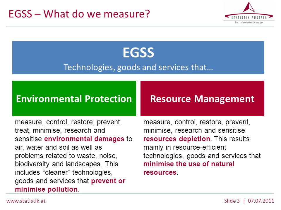 www.statistik.atSlide 4 | 07.07.2011 EGSS – Output variables EGSS Technologies, goods and services that… Environmental ProtectionResource Management Green Jobs Employment within the EGSS Turnover of the EGSS Value added of the EGSS Exports by the EGSS output
