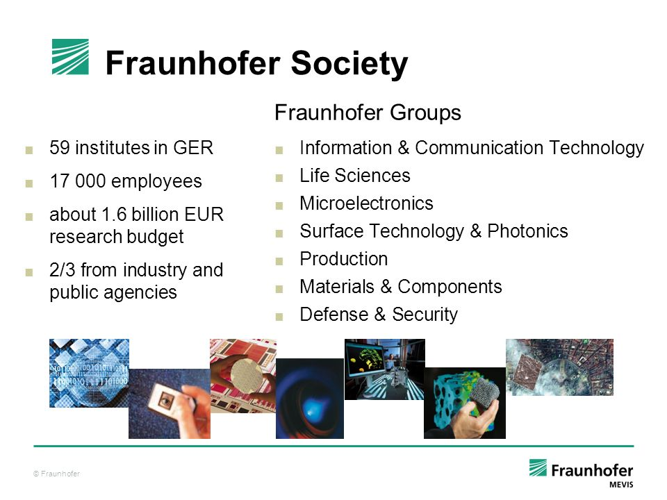 © Fraunhofer 59 institutes in GER 17 000 employees about 1.6 billion EUR research budget 2/3 from industry and public agencies Fraunhofer Groups Infor