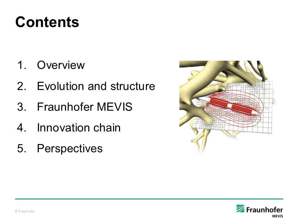 © Fraunhofer Contents 1.Overview 2.Evolution and structure 3.Fraunhofer MEVIS 4.Innovation chain 5.Perspectives
