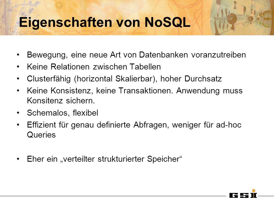 Eigenschaften von NoSQL Bewegung, eine neue Art von Datenbanken voranzutreiben Keine Relationen zwischen Tabellen Clusterfähig (horizontal Skalierbar), hoher Durchsatz Keine Konsistenz, keine Transaktionen.