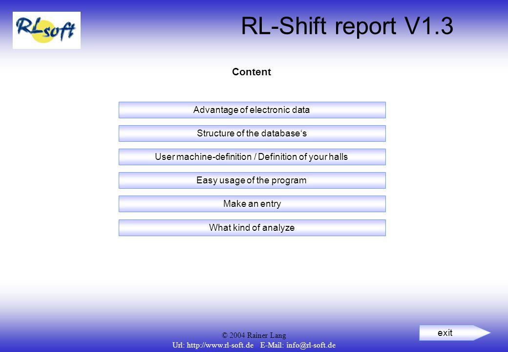 © 2004 Rainer Lang Url: http://www.rl-soft.de E-Mail: info@rl-soft.de RL-Shift report V1.3 Content User machine-definition / Definition of your halls