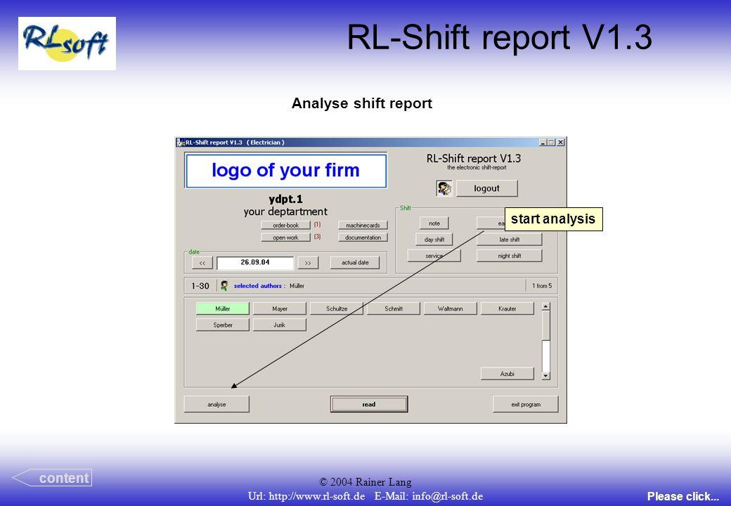 © 2004 Rainer Lang Url: http://www.rl-soft.de E-Mail: info@rl-soft.de RL-Shift report V1.3 Analyse shift report content Please click... start analysis
