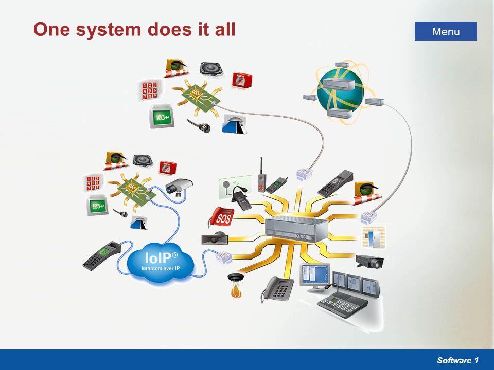 Software 1 Kommunikations- und Sicherheitssysteme Sicherheitssysteme Menü One system does it all Menu