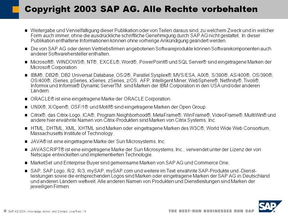 SAP AG 2004, Knowledge, Action, and Context, Uwe Riss / 14 Weitergabe und Vervielfältigung dieser Publikation oder von Teilen daraus sind, zu welchem