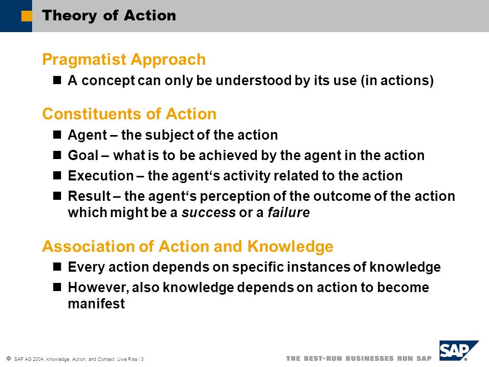SAP AG 2004, Knowledge, Action, and Context, Uwe Riss / 3 Theory of Action Pragmatist Approach A concept can only be understood by its use (in actions) Constituents of Action Agent – the subject of the action Goal – what is to be achieved by the agent in the action Execution – the agents activity related to the action Result – the agents perception of the outcome of the action which might be a success or a failure Association of Action and Knowledge Every action depends on specific instances of knowledge However, also knowledge depends on action to become manifest