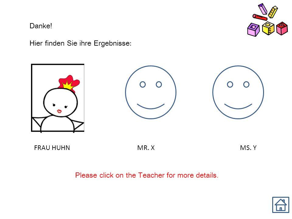 Danke. Hier finden Sie ihre Ergebnisse : FRAU HUHN MR.