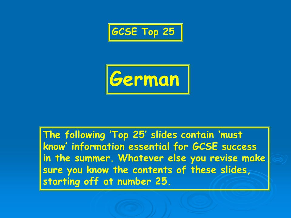 15 WEBSITES Visit www.bbc.co.uk/schools/gcsebitesizewww.bbc.co.uk/schools/gcsebitesize www.s-cool.co.uk Go into Google and type in GCSE German revision Select suitable revision sites to help you practise your vocabulary/reading skills in particular.