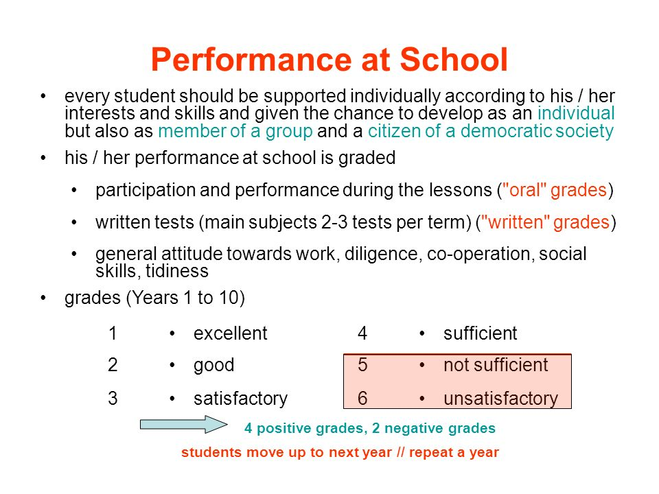 Performance at School every student should be supported individually according to his / her interests and skills and given the chance to develop as an
