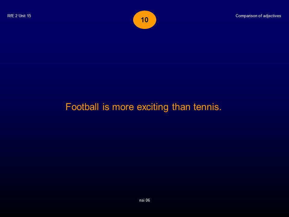 RfE 2 Unit 15 Football is more exciting than tennis. Comparison of adjectives nsi 06 10