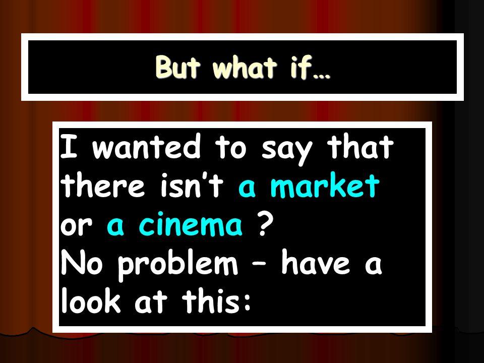 Subj.VerbObj. Esgibt ein en Markt eine Post ein Kino -- Geschäfte