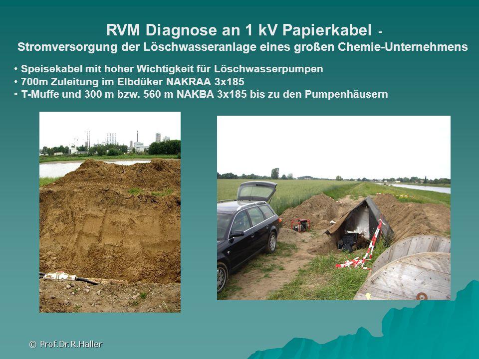 © Prof.Dr.R.Haller RVM Diagnose an 1 kV Papierkabel - Stromversorgung der Löschwasseranlage eines großen Chemie-Unternehmens Speisekabel mit hoher Wic