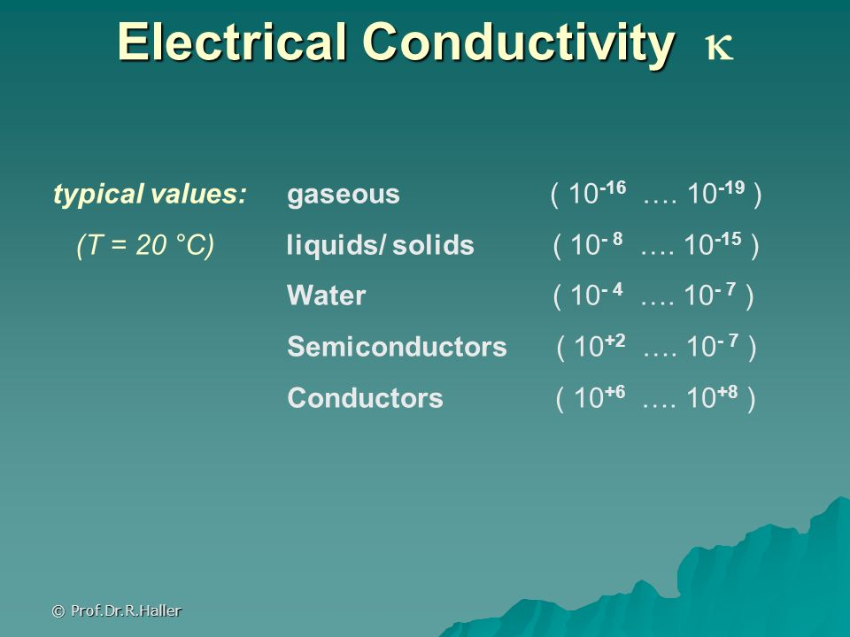 © Prof.Dr.R.Haller Electrical Conductivity Electrical Conductivity typical values: gaseous ( 10 -16 …. 10 -19 ) (T = 20 °C) liquids/ solids ( 10 - 8 …