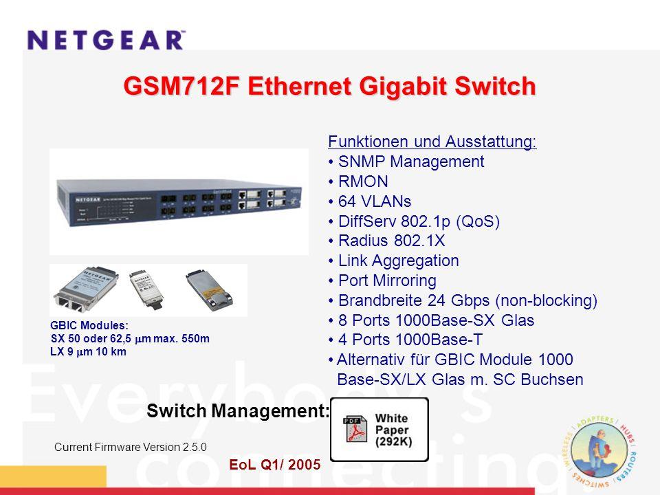 GSM712F Ethernet Gigabit Switch Funktionen und Ausstattung: SNMP Management RMON 64 VLANs DiffServ 802.1p (QoS) Radius 802.1X Link Aggregation Port Mirroring Brandbreite 24 Gbps (non-blocking) 8 Ports 1000Base-SX Glas 4 Ports 1000Base-T Alternativ für GBIC Module 1000 Base-SX/LX Glas m.