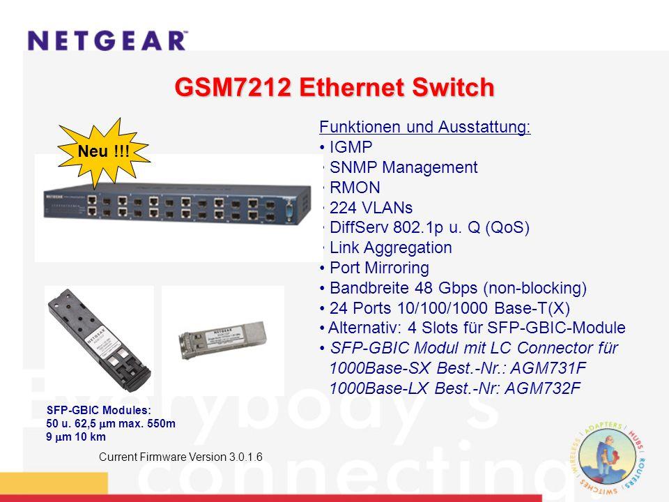 GSM7212 Ethernet Switch Funktionen und Ausstattung: IGMP SNMP Management RMON 224 VLANs DiffServ 802.1p u.