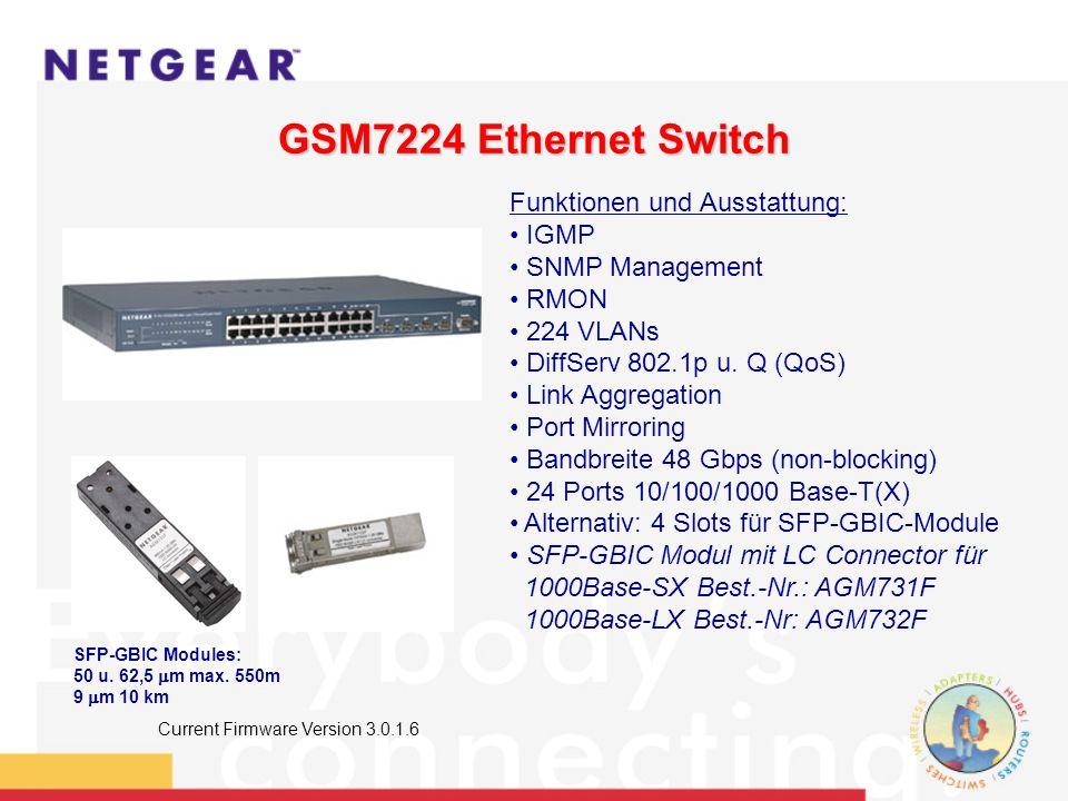 GSM7224 Ethernet Switch Funktionen und Ausstattung: IGMP SNMP Management RMON 224 VLANs DiffServ 802.1p u.
