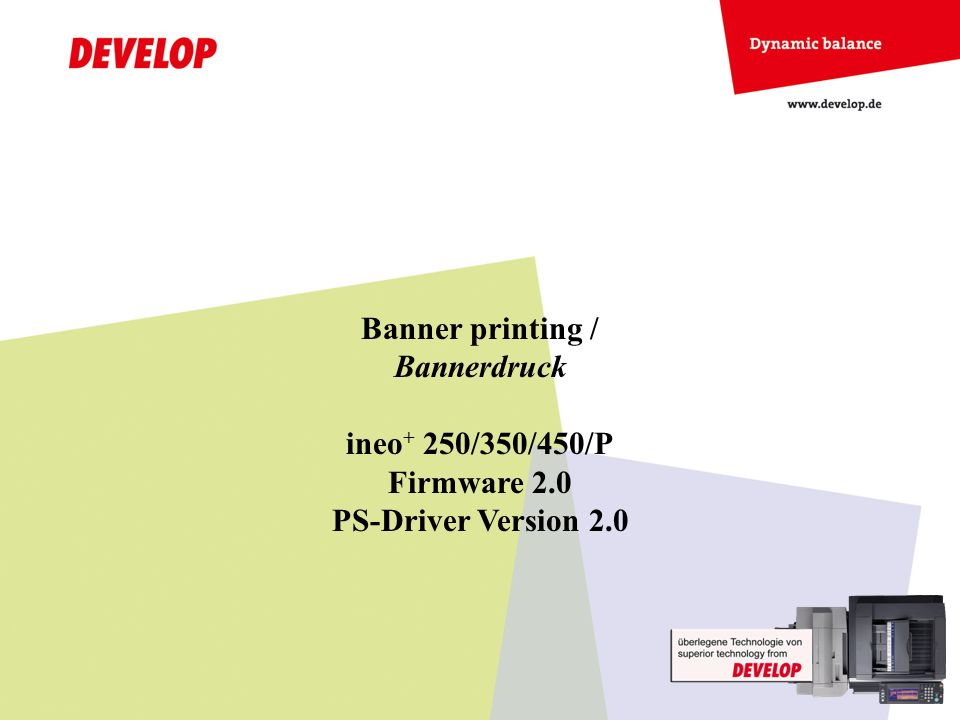 Banner printing / Bannerdruck ineo + 250/350/450/P Firmware 2.0 PS-Driver Version 2.0