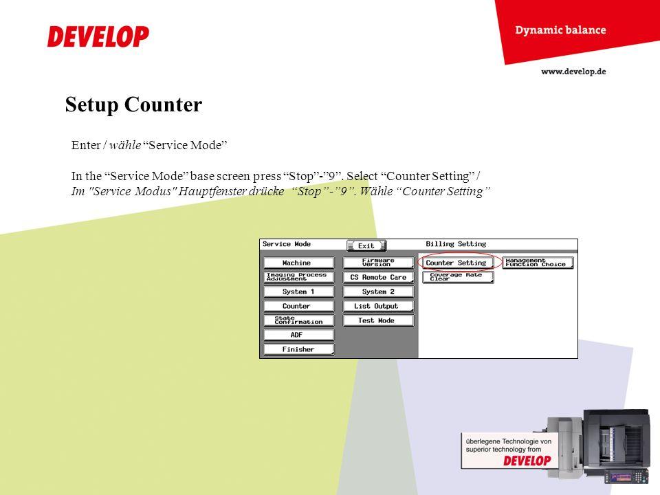 2 x 4 modes are available for banner counting / 2 mal 4 Modi sind für den Bannerdruck verfügbar Setup Counter