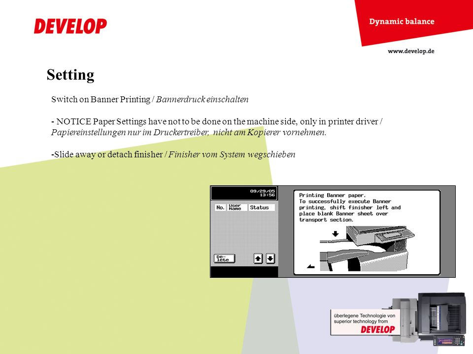 Switch on Banner Printing / Bannerdruck einschalten - NOTICE Paper Settings have not to be done on the machine side, only in printer driver / Papierei