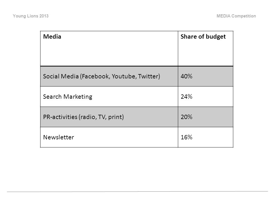 Young Lions 2013 MEDIA Competition MediaShare of budget Social Media (Facebook, Youtube, Twitter)40% Search Marketing24% PR-activities (radio, TV, print)20% Newsletter16%