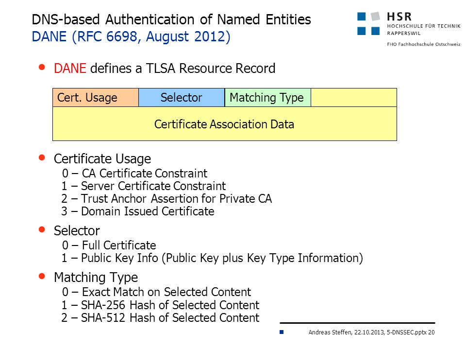 Andreas Steffen, 22.10.2013, 5-DNSSEC.pptx 20 DNS-based Authentication of Named Entities DANE (RFC 6698, August 2012) DANE defines a TLSA Resource Record Certificate Usage 0 – CA Certificate Constraint 1 – Server Certificate Constraint 2 – Trust Anchor Assertion for Private CA 3 – Domain Issued Certificate Selector 0 – Full Certificate 1 – Public Key Info (Public Key plus Key Type Information) Matching Type 0 – Exact Match on Selected Content 1 – SHA-256 Hash of Selected Content 2 – SHA-512 Hash of Selected Content Cert.