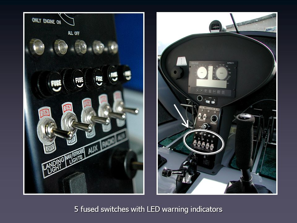 5 fused switches with LED warning indicators