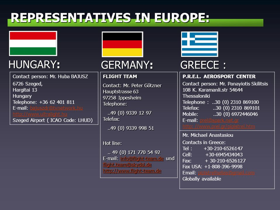 REPRESENTATIVES IN EUROPE: GERMANY: FLIGHT TEAM Contact: Mr.