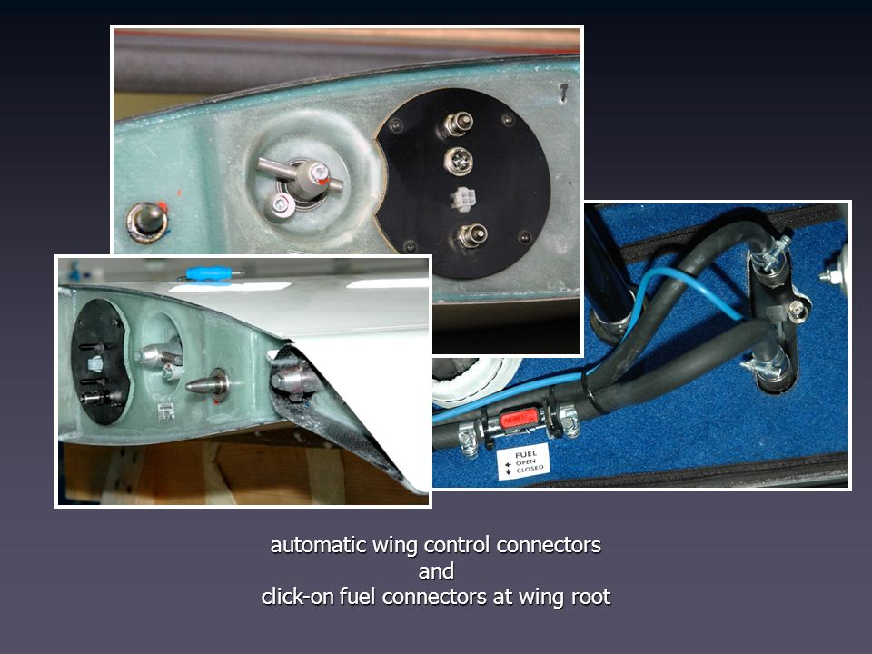 automatic wing control connectors and click-on fuel connectors at wing root