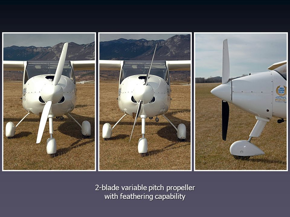 2-blade variable pitch propeller with feathering capability