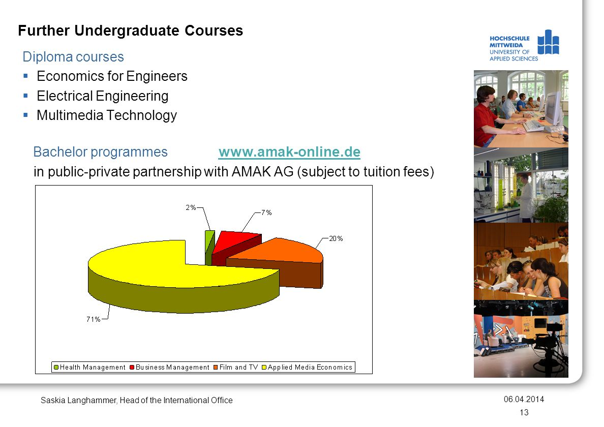 Further Undergraduate Courses Saskia Langhammer, Head of the International Office 06.04.2014 13 Diploma courses Economics for Engineers Electrical Engineering Multimedia Technology Bachelor programmes www.amak-online.de www.amak-online.de in public-private partnership with AMAK AG (subject to tuition fees)