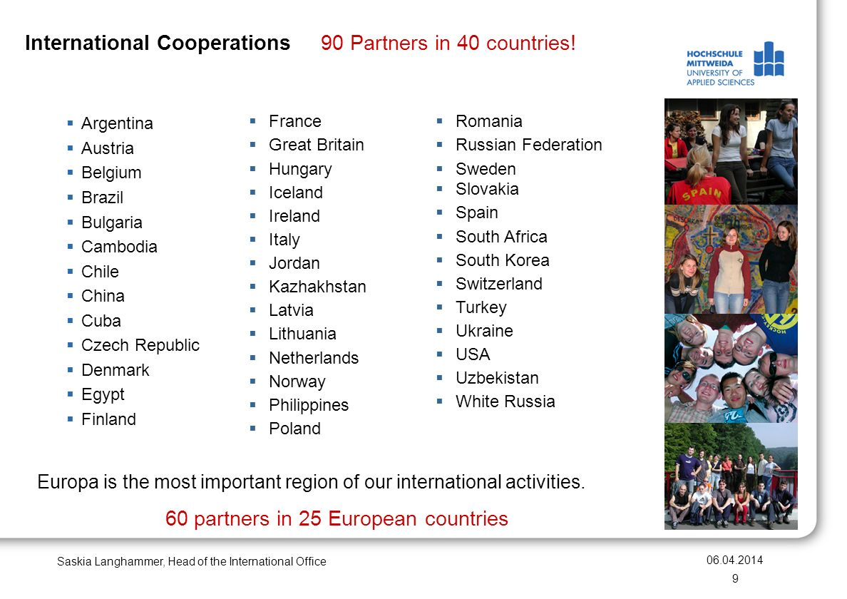 International Cooperations 90 Partners in 40 countries.