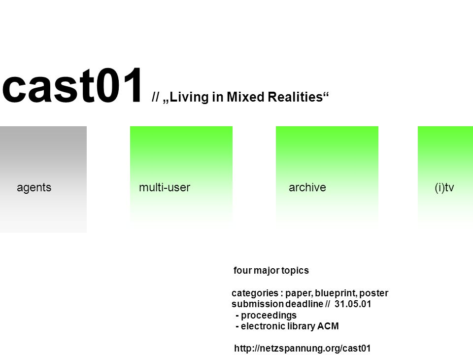 cast01 // Living in Mixed Realities four major topics categories : paper, blueprint, poster submission deadline // 31.05.01 - proceedings - electronic library ACM http://netzspannung.org/cast01 agentsmulti-userarchive(i)tv