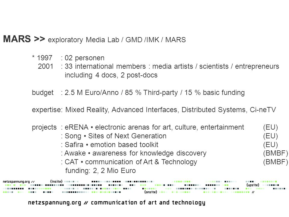 MARS >> exploratory Media Lab / GMD /IMK / MARS * 1997: 02 personen 2001: 33 international members : media artists / scientists / entrepreneurs including 4 docs, 2 post-docs budget: 2.5 M Euro/Anno / 85 % Third-party / 15 % basic funding expertise: Mixed Reality, Advanced Interfaces, Distributed Systems, Ci-neTV projects: eRENA electronic arenas for art, culture, entertainment (EU) : Song Sites of Next Generation (EU) : Safira emotion based toolkit (EU) : Awake awareness for knowledge discovery (BMBF) : CAT communication of Art & Technology (BMBF) funding: 2, 2 Mio Euro