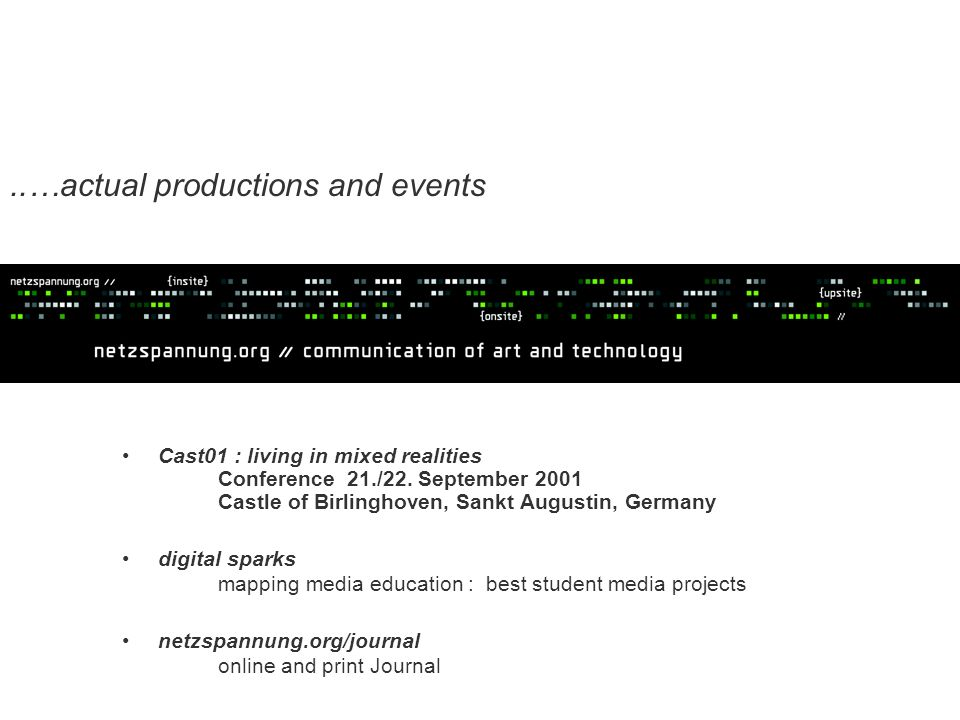..…actual productions and events Cast01 : living in mixed realities Conference 21./22.