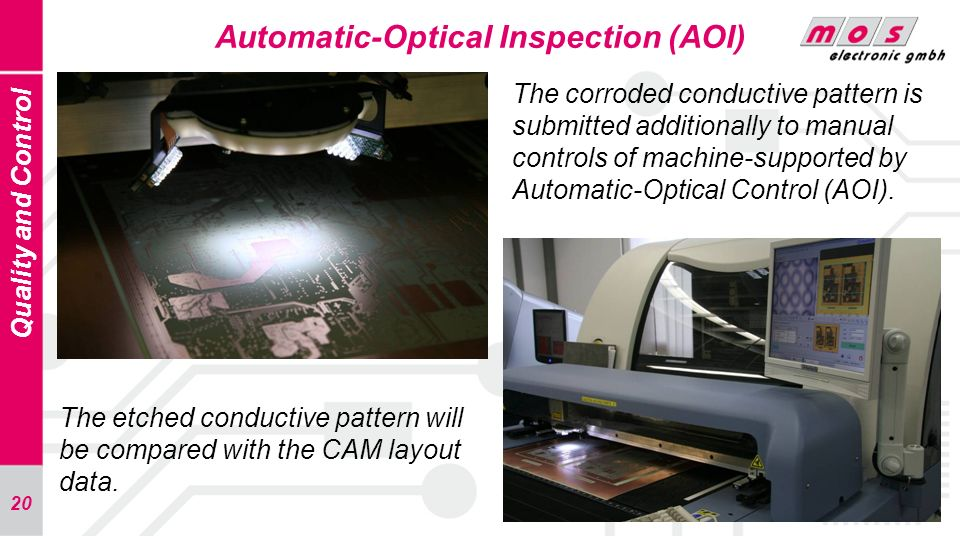 20 Automatic-Optical Inspection (AOI) Quality and Control The corroded conductive pattern is submitted additionally to manual controls of machine-supp