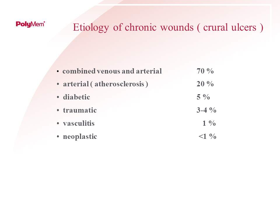 Etiology of chronic wounds ( crural ulcers ) combined venous and arterial 70 % arterial ( atherosclerosis ) 20 % diabetic 5 % traumatic3-4 % vasculiti