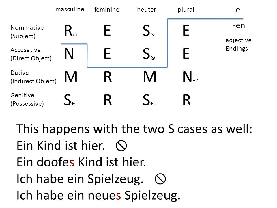 R ES E NES E MRMN +n S +s R R -e -en masculine feminineneuterplural adjective Endings Nominative (Subject) Accusative (Direct Object) Dative (Indirect Object) Genitive (Possessive) This happens with the two S cases as well: Ein Kind ist hier.