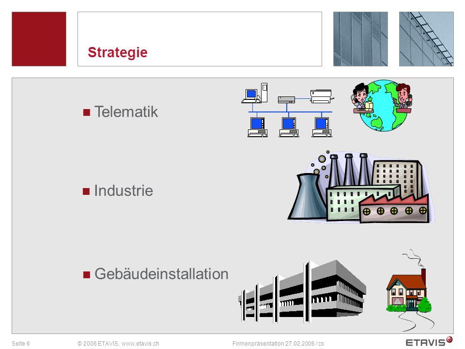 Seite 6© 2006 ETAVIS, www.etavis.chFirmenpräsentation 27.02.2006 / cs Strategie Telematik Industrie Gebäudeinstallation