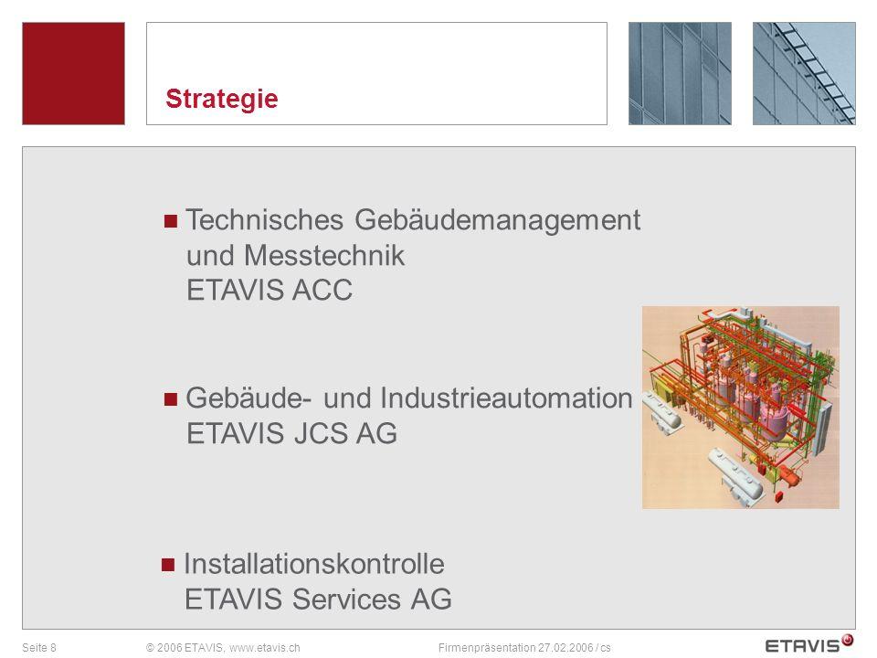 Seite 8© 2006 ETAVIS, www.etavis.chFirmenpräsentation 27.02.2006 / cs Strategie Gebäude- und Industrieautomation ETAVIS JCS AG Technisches Gebäudemana