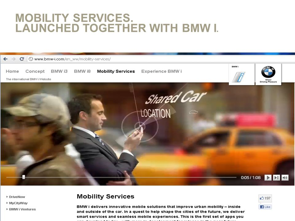 MOBILITY SERVICES. LAUNCHED TOGETHER WITH BMW I. Thema, Abteilung, XX.