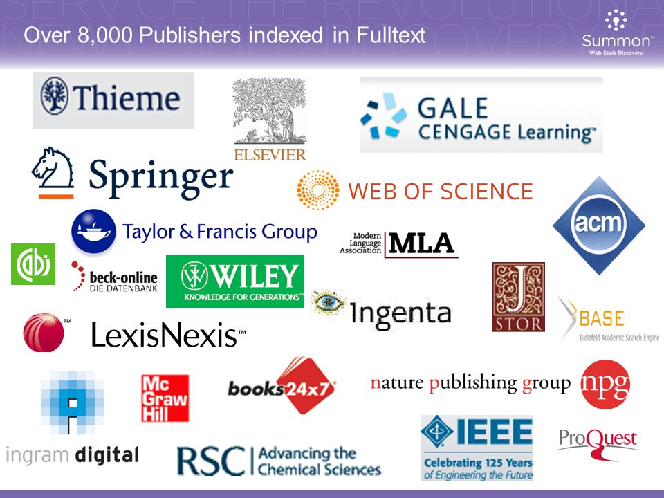 Over 8,000 Publishers indexed in Fulltext