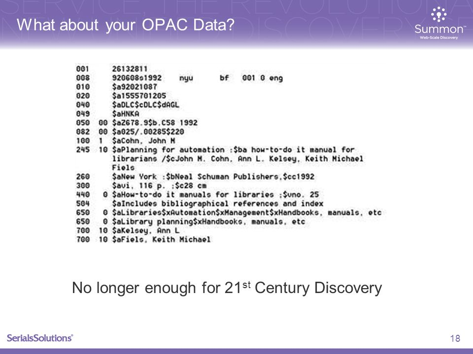 What about your OPAC Data? 18 No longer enough for 21 st Century Discovery